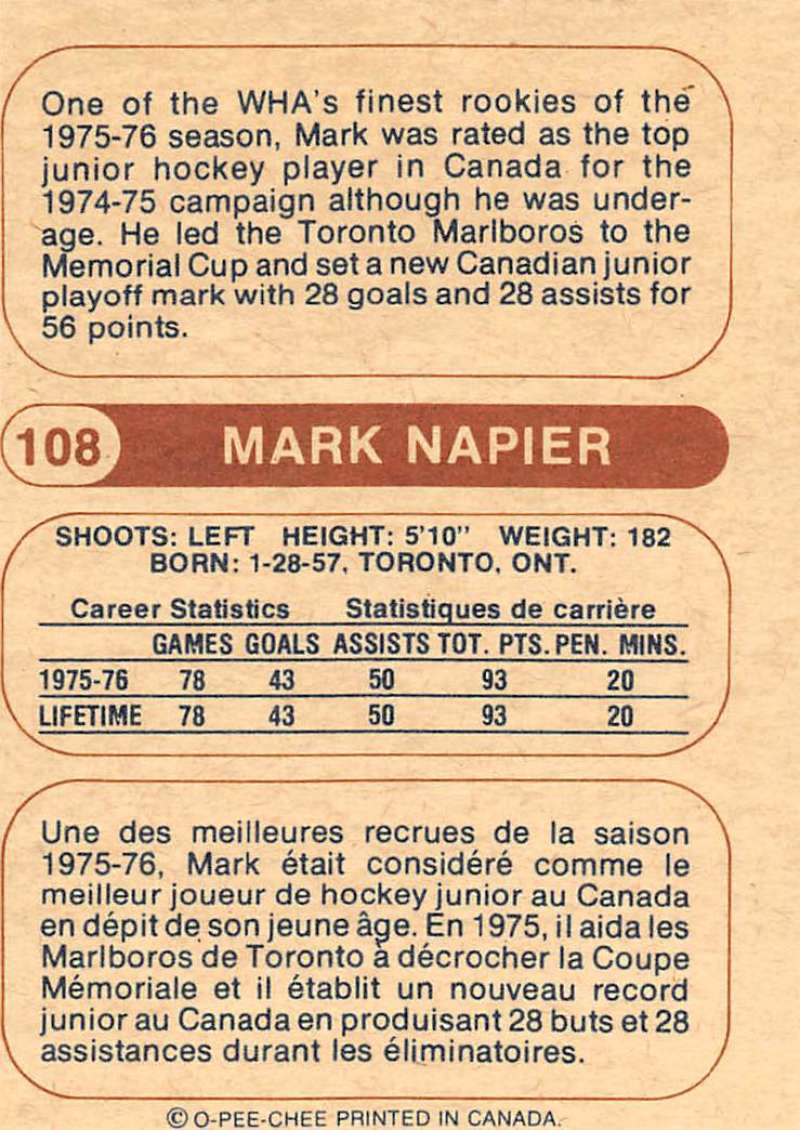 1976-77-O-Pee-Chee-OPC-WHA-Hockey-Trading-Cards-Pick-From-List-Set-Break-One miniature 111