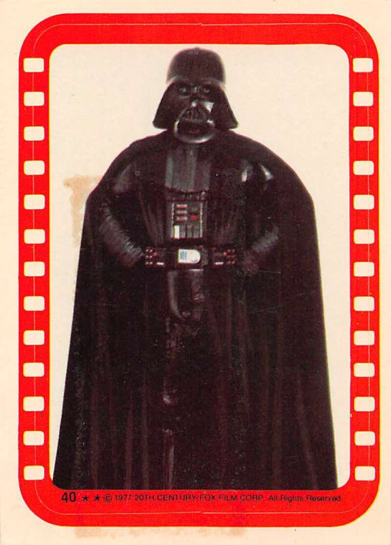 1977 Topps Star Wars Stickers Set Break Six #40 Darth Vader David Prowse Official Vintage Trading Card From The Movie A