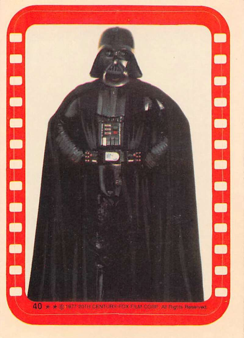 1977 Topps Star Wars Stickers Set Break Seven #40 Darth Vader David Prowse Official Vintage Trading Card From The Movie