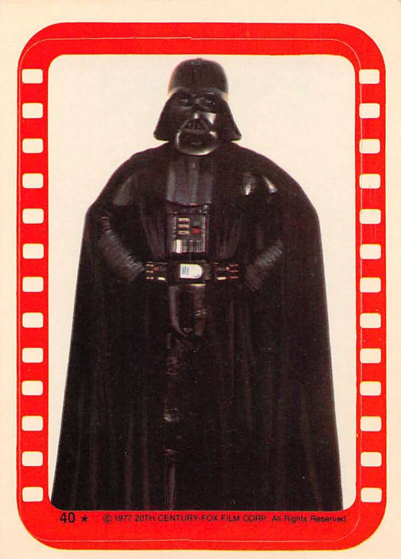 1977 Topps Star Wars Stickers Set Break Eight #40 Darth Vader David Prowse Official Vintage Trading Card From The Movie