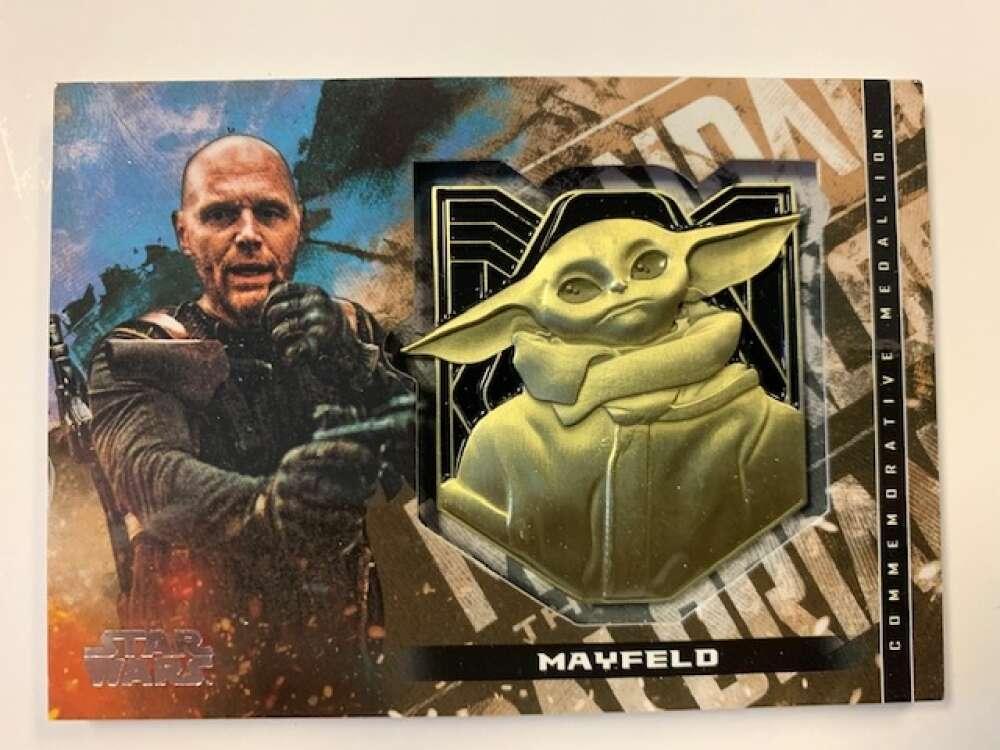 2020 Topps Star Wars The Mandalorian Season 1 Commemorative Medallion Relics Bronze #NNO Mayfeld SER/50 The Child Medall