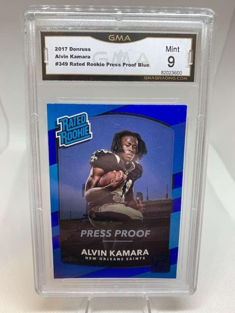 GMA Mint 9 #82023600 2017 Donruss Blue Press Proof Rated Rookie #349 Alvin Kamara