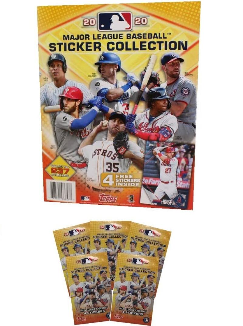 EMPTY 2020 Topps MLB Baseball Sticker Album with 5 Packs of Stickers (20 Stickers Total)