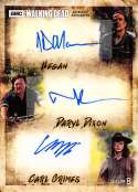 2018 Topps Walking Dead Season 8 Part 1 Triple Autographs #NNO Jeffrey Dean Morgan/Norman Reedus/Chandler Riggs Auto Aut