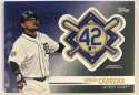 2018 Topps Update and Highlights Baseball Series Jackie Robinson Day Manufactured Medallion Patch #JRP-MG Miguel Cabrera Official MLB Trading Card