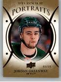 2018-19 Upper Deck Portraits Gold Foil Hockey Card #P-47 Jordan Greenway SER/99 Minnesota Wild  Official UD Trading Card