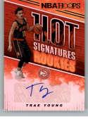 2018-19 Panini Hoops Hot Signatures Rookies Basketball Card #5 Trae Young Auto Autograph Atlanta Hawks  Official NBA Trading Card