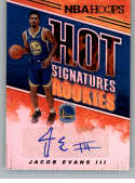 2018-19 Panini Hoops Hot Signatures Rookies Basketball Card #28 Jacob Evans III Auto Autograph Golden State Warriors  Official NBA Trading Card