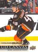 2018-19 Upper Deck Canvas Hockey Series Two #C216 Isac Lundestrom Anaheim Ducks Young Guns Short Print Official UD NHL Hockey Card