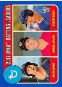 2018 Topps Heritage Minor League Baseball Blue #195 Darrell Miller/Keston Hiura/Mitch Longo SER/99 Idaho Falls Chukars/W Official MILB Trading Card