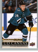 2018-19 Upper Deck Canvas Hockey Series Two #C222 Dylan Gambrell San Jose Sharks Young Guns Short Print Official UD NHL Hockey Card