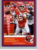 2019 Score Purple Football #1 Patrick Mahomes II Kansas City Chiefs  Official NFL Trading Card From Panini