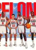 1991-92 SkyBox Basketball #545 Michael Jordan/John Stockton/Karl Malone/Magic Johnson USA USA  Official NBA Trading Card