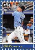 2019 Donruss Variations Independence Day Baseball #232 Brandon Lowe Tampa Bay Rays Retro 1985 Official MLBPA Trading Car