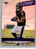 2019 Prestige Xtra Points Blue Football #254 Justice Hill SER/299 Baltimore Ravens Official NFL Trading Card From Panini