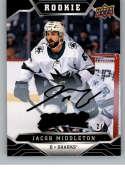 2019-20 Upper Deck MVP Super Script Black Hockey #225 Jacob Middleton SER/5 San Jose Sharks Official NHL Trading Card fr