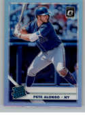 2019 Donruss Optic Silver Holo Prizm Baseball #82 Pete Alonso New York Mets Rated Rookie Official MLBPA Trading Card Fro