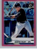 2019 Donruss Optic Pink Holo Prizm Baseball #95 Austin Riley Atlanta Braves Rated Rookie Official MLBPA Trading Card Fro