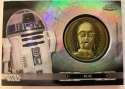 2019 Topps Chrome Star Wars Legacy Droid Commemorative Medallion Relics Refractors Black NonSport #NNO R2-D2 - C-3PO SER