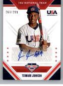 2020 Panini USA Stars and Stripes 15U National Team Signatures Baseball #6 Termarr Johnson Auto Autograph SER/299 USA Ba