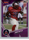 2020 Topps XFL Purple Football #108 James Butler SER/50 Houston Roughnecks Official