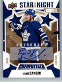 2019-20 Upper Deck Credentials Star of the Night Autographs Hockey #3S-08 Rasmus Sandin Auto Autograph SER/49 Toronto Ma