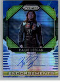 2020 Panini Prizm Endorsements Autograhs Blue and Carolina Blue Hyper Prizm Racing #3 Hailie Deegan Auto Autograph SER/2