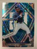 2020 Panini Chronicles Spectra Silhouettes Neon Blue Baseball #42 Marcell Ozuna Jersey/Relic SER/99 Atlanta Braves