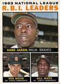 1964 Topps Baseball #11 Hank Aaron/Ken Boyer/Bill White Milwaukee Braves/St. Louis Cardinals NL R.B.I. Leaders